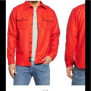 Schott NYC Wool Button Down Schacket Red Pockets M